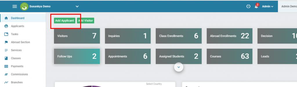 Add Applicant button in Dashboard